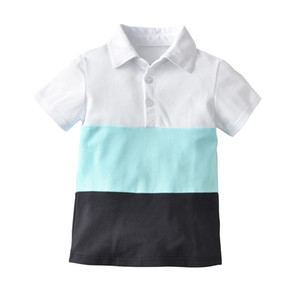 Wholesale Latest Infant Baby Children s wear Summer Boy striped t shirt Design Polo shirt color block shirts polo Gym polo Fitness Exercise