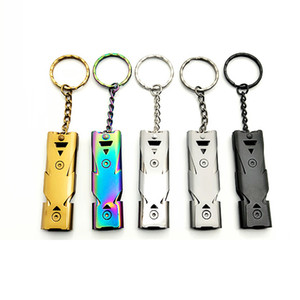 Wholesale whistle stainless steel for sale - Group buy Stainless Steel Portable Whistle Lifesaving EDC Tool Double Tube Whistle Keychain Whistles Party Favor Gift VT1269
