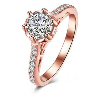 Wholesale Fashion jewelry Wedding rings for women White Blue Green Cubic Zirconia rose gold charm wedding engagement Ring R3005