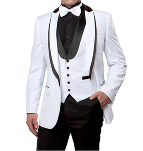 Wholesale harris tweed shawl resale online - Groom Tuxedos Groomsmen Shawl Lapel Handsome One Button Men Suits Wedding Prom Dinner Best Man Blazer Jacket Pants Vest Tie M1224