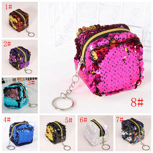 Wholesale girls designer handbags for sale - Group buy Square Pink Coin Purse Wallet Fashion Sequin Mini Purse For Women Children Girl Small Purse Handbag Clutch Purses VT0818