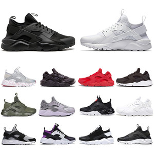 черный huarache кроссовки оптовых-huarache IV IV mens running shoes triple black white red silver huaraches men trainers women sports sneakers