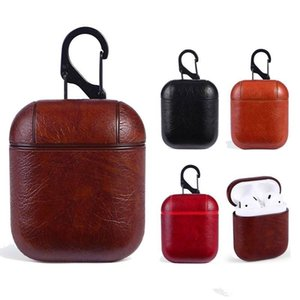 Wholesale PU Leather Case For AirPods Case Protective Shockproof Charging Portable Earphone Retro Air pods Cover With Anti lost Hook Pouch For Airpods