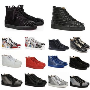 Wholesale Best Designer Sneakers Studded Spikes Shoes mens trainers Red Bottom mens flat Shoes glitter graffiti Party Wedding Shoes colors SZ US
