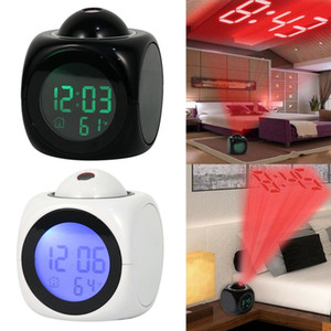alarmes meteorológicos venda por atacado-LED Backlight Sino Temporizador Moda Atenção Projeção Digital Tempo LED Snooze Alarm Clock Projector Color Display