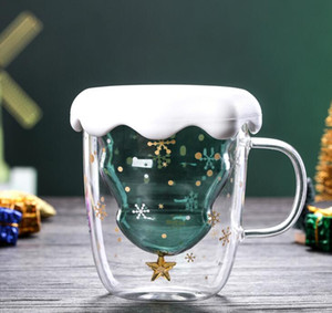 Christmas Tree Glass Cup Mugs Heat Resistant Double Layer Glasses Bottes Breakfast Oatmeal Milk Cup Custom Drinking Mug GGA2689