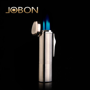 Jobon Metal Refillable Cigar Lighter Jet Torch triple flame welding camping flame Butane Gas BBQ no gas creative good quality fashion gift
