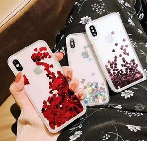 Wholesale Mobile phone shell big love transparent beautiful soft edge quicksand shell for iphone X XS XR