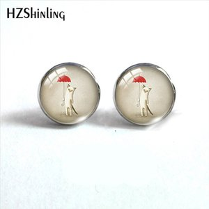 2019 New Cat with Umbrella Round Earring Cute Cat Under Rain Earrings Glass Dome Cabochon Jewelry HZ4