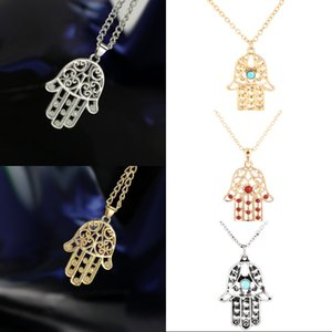Wholesale Free DHL Christmas Gift Styles Fatima Hamsa Hand Pendant Lucky Necklace Turkey Evil Eye Charm Necklaces Women Vintage Jewelry New G383S F