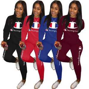 Wholesale Women Champion tracksuit Set Sportswear Long Sleeve designer t shirts Top Pants Two Piece suit fashion brand womens outfits clothing A3207