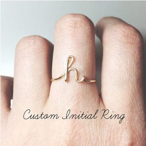 Wholesale Dainty Initial Ring A to Z Letter Midi Personalized Rings for Women Men Jewelry Rose Gold Stacking Custom Initials Ring Gift