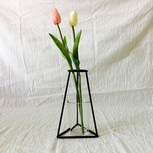 Wholesale Flower Plant Vase Iron Wire Black Metal Pot Stand Holder Home DIY Decorative X