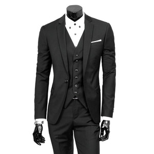 Wholesale 2019 Fashion Pack Slim Fit Black Wine Linen Men Suit Wedding Party Smoking Tuxedo Mens Casual Work Wear Suits Dropshipping SH190822