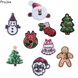 Prajna Sequin Santa Claus Christmas Tree Embroidery Iron On Patches Jingle Bells Sock Patch Clothes Christmas Ornaments Diy F