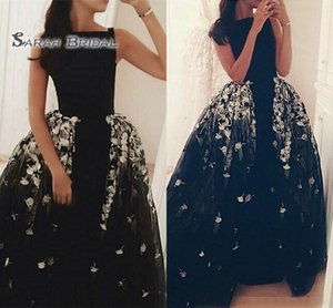 Wholesale 2019 Black Prom Dresses with Detachable Train Lace Appliques Long Overskirt Party Dresses Tulle Maxi Formal Wear Evening Gowns