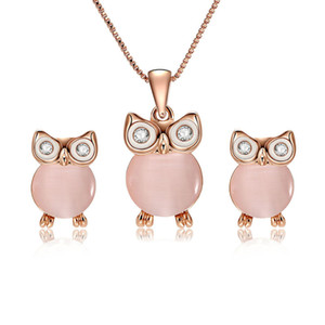 HC Cute Cartoon Animal Pendant Girl Kid Gifts Jewelry Sets Vintage Pink Opal Owl Earrings Children Birthday Party Set Jewelry T