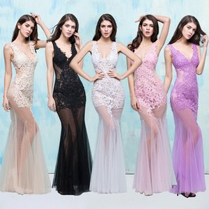 New Nightclub Ladies Summer Sexy Perspective Black Pink Dresses Shoulder Deep V Collar Fish Tail Slim Wrap Hip Prom Dresses DH1602