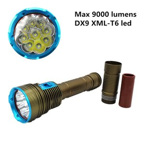 9000Lumens 9x T6 Diving LED Flashlights 3 Mode 100M Underwater Waterproof Tactical Torch +3x18650 Battery +Charger