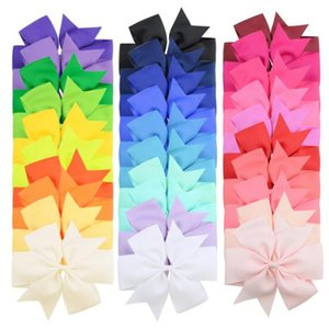 New 30 Colors Girl Hair Bows Solid Colors 6 inch Bow Design Girl Clippers Girls Hair Clips Hair Accessory