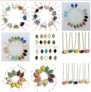 Wholesale Fashion Kendra Druzy Drusy Necklace Scott Earrings Silver Gold Plated Copper Faux Natural stone Scott Women Brand Jewelry