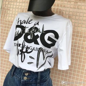 Wholesale 2019 summer T Shirts Men Women Casual T shirt Fashion Crew Neck Pattern printing Cotton Short Sleeve
