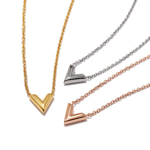 Wholesale New hot selling exquisite female necklace jewelry Fashion V shaped smooth titanium steel pendant necklace rose gold gold silver