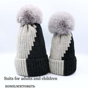 Wholesale Autumn Winter Newborn Boys Girls Wool Hats Warm Knitted Crochet Parent child Caps Soft Children Beanie Children Scarf