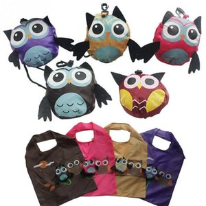 Wholesale Cute Animal Owl Folding Nylon Shopping Bag Eco Friendly Ladies Gift Foldable Reusable Tote Bag Portable Travel Shoulder