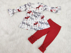 Christmas girl long-sleeved trousers deer pattern flower boutique set on Sale