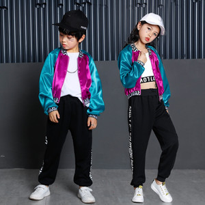 Wholesale Kids Dance Clothes Hip Hop Costume for Girls Boys Jacket Crop Tank Tops Pants Ballroom Dancing Clothing Competition Costume Wear