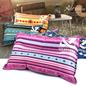 Wholesale car sleep pillow for sale - Group buy Outdoor ethnic wind automatic inflatable pillow leisure tent camping equipment lunch break sleeping pillow car travel pillow