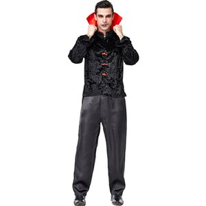 Wholesale Black Velvet Chinese Style Vampire Devils Costumes Suit For Man Halloween Party Stage Costume Cosplay