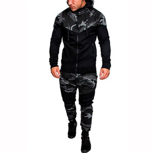 Mens Fashion Hooded Tracksuits Camouflage Designer Panelled Hoodies Pants 2pcs Clothing Sets Pullover Outfits Mens Clothing