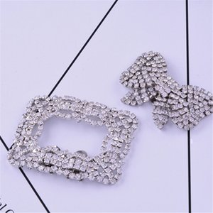 Wholesale Square Bowknot Shape Clips Rhinestone Shoes Buckle Elegant Silver Color Shoe Decorations For Women Girl