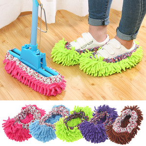 Wholesale 1pc Dust Cleaner Grazing Slippers Bathroom Floor Cleaning Mop Cleaner Slipper Lazy Shoes Cover Microfiber Duster Cloth
