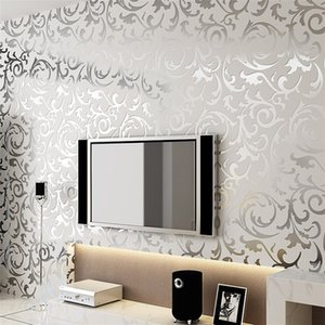 Wholesale High quality luxury d luxury wallpaper silver wall paper commercial luminous wall paper d wallpaper roll