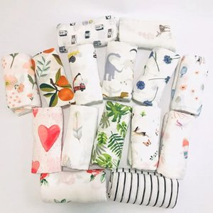 Wholesale 38 colors baby blanket Muslin floral animal printed swaddle wrap blanket newborn double layer crepe bath towels toweling Swaddling Shawl Rug