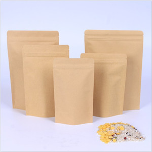 Wholesale 1000pcs Zipper Brown Kraft aluminizing pouch Stand up kraft paper aluminium foil bag Resealable Zip Lock Grip seal Food Grade DHL
