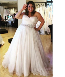 Wholesale Fat Girl Plus Size Beach Wedding Dresses with Crystal Belt Pleated Sweetheart Backless Tulle Bridal Gowns vestido de noiva Modest