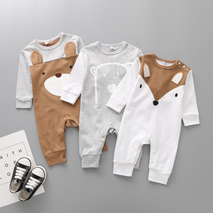 Wholesale baby boy bear clothes resale online - New Born Spring Autumn Infant Baby Cartoon Rompers Kids Boys Girls Bear Fox Cotton Jumpsuits Children Long Sleeve Climb Clothes M644