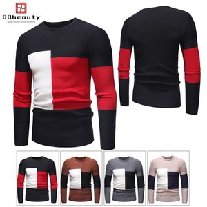 Wholesale New Fashion Men s Slim Sweaters Color Block Design Autumn and Winter Thin Sweaters Contrast Color Style