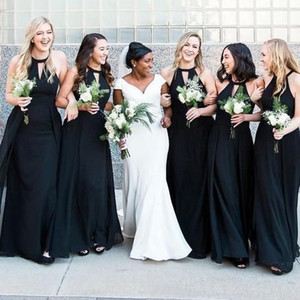 Wholesale Detachable Black Mermaid Long Bridesmaid Dresses 2019 New Sleeveless Floor Length Wedding Guest Dress Party Gowns Bridesmaids Dress