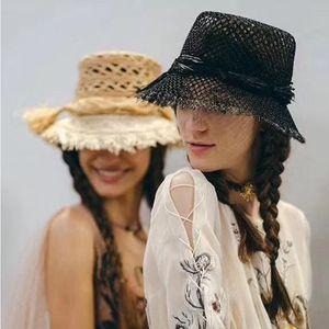 Woven hats caps women show raffia straw hat trend wide brim hats sunshade hat lady avant-garde fashion Beach hat travel essential anti-UV
