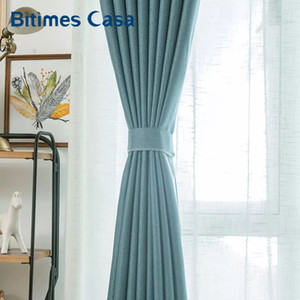Wholesale window surfaces resale online - Customized Size Thicken Linen Blackout Window Curtain Knitted Surface For Living Roon Bedroom High Shading Home Decor