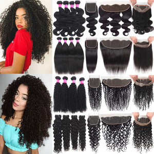 Brazilian Human Hair Wefts with Closure 13X4 Ear To Ear Lace Frontal Closure With Bundles Deep Wave Virgin Hair With 360 Lace Frontal