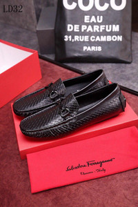 Wholesale With Box Fashion men s Ferragamo casual business shoes wedding shoes men s dress shoes high quality leather A4