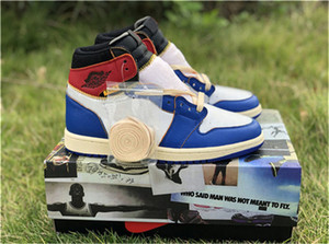 Wholesale 2018 Hottest Authentic Union x High OG NRG LA Los Angeles Blue Toe Varsity Red Storm S Basketball Shoes Man Sneakers With Box