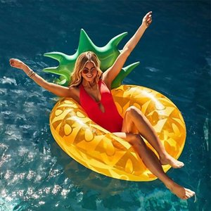 Wholesale Gaint Pineapple Floats Raft Air Mattresses Life Buoy Summer Inflatable Ring Swim Pool Swimming Fun Water Sports Beach Adult