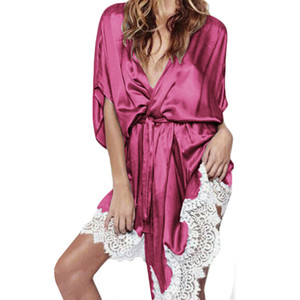 Plus Size sexy bath kimono robe sleepwear bridesmaid lingerie Lace night robes dressing gown bathrobe satin robe peignoir femme
